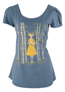 Grey white yellow girl deer woods forest cotton tshirt tee top