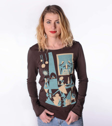 Brown aqua white holiday party French terry sweatshirt pullover