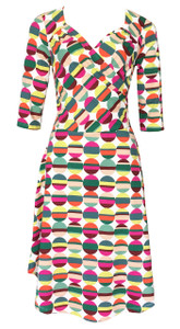 Stripey dot geometric circle sweetheart neckline knit wrap dress
