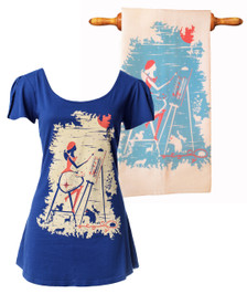 Navy red white artist shirt and white sky blue red tea towel