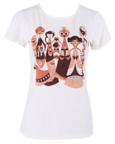 Off-white tee with rib neck, brown white tan girls women graphic