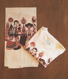 White women's tee and towel with rib neck, brown white tan multicultural girls women graphic