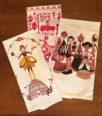 Day of the dead, women and beekeeper quirky tea towels