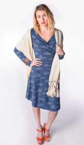 Soft navy cabin woods forest print long-sleeved navy surplice wrap dress