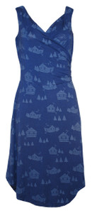 Navy blue casual quirky cabin print knee length midi sleeveless surplice wrap dress