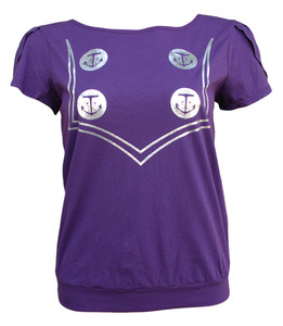 Purple nautical trompe l'oeil sailor top