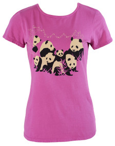 Orchid black white panda print graphic basic tee