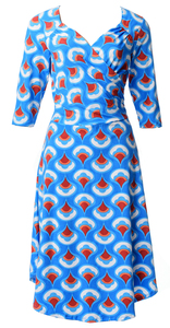Blue white orange red teardrop geo print sleeved surplice wrap dress