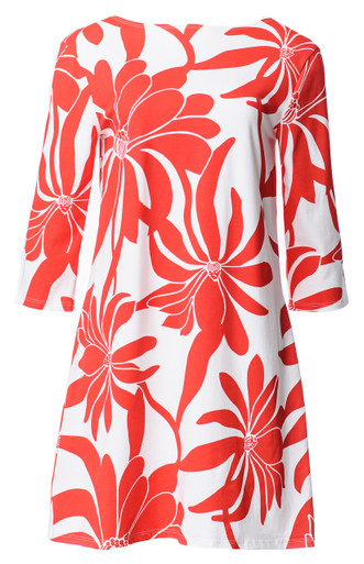 Red white floral fire print a-line tunic
