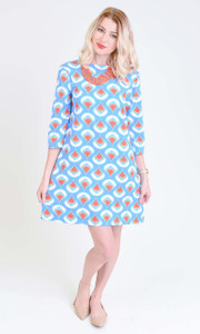 blue red orange white geometric teardrop print boatneck scoop back a-line tunic