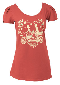 Women's red short-sleeved tandem bicycle picnic love lemon tree cotton graphic tee