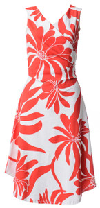 Women's red white bright bold geo fire floral sleeveless surplice wrap dress