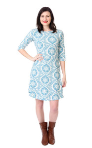 Turquoise blue white large floral sunflower print quirky knit boat neck dress