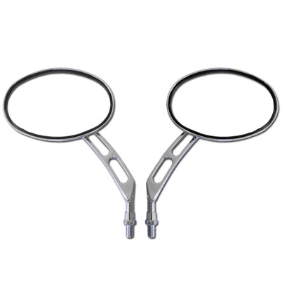Replace your stock mirrors with a pair of these chrome billet oval motorcycle handlebar mirrors.  They feature a large, oval, glass mirror lens, and are complimented with a cool looking slotted mirror stem. Sold as a pair.