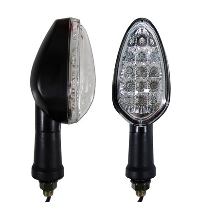 """These """"Euro custom"""" black motorcycle LED turn signals feature a clear lens along with 12 bright LED's. They have a sleek design which will definitely upgrade the look on any stock bike. In case they are hit, their semi-flexible mounting base will help prevent them from sustaining damage. Sold as a pair."""