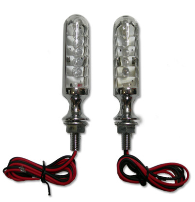 """Customize your ride with these hot, custom, """"bullet"""" style LED chrome motorcycle turn signals. They will give your ride a sleek look, while providing a bright light and more efficiency."""
