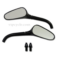 Black golf club style motorcycle mirrors feature a unique design and are quality made. The housing and stem are 6061-T6 billet aluminum metal.  The mirror lens is distortion free glass and each mirror sports an off black color, making them look pretty sleek.  You can be sure that these mirrors will be head turners once they're on your motorcycle.