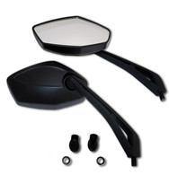 Upgrade your motorcycle, sport bike, or cruiser with a pair of these hot looking motorcycle mirrors. They feature a diamond shaped mirror lens, distortion free glass, and are complimented with a sleek black matte finish.