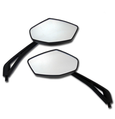 Upgrade your Aprilia motorcycle with a pair of these hot looking motorcycle mirrors.  They feature a diamond shaped mirror lens, distortion free glass, and are complimented with a sleek black matte finish.