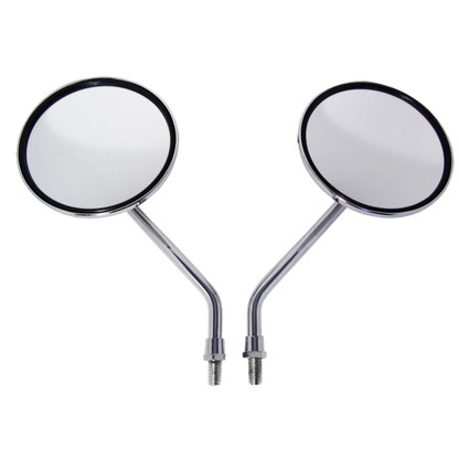 Chrome, metal motorcycle mirrors featuring a large 4 inch mirror lens. Mirror lens is high quality distortion free glass. Each mirror is fully adjustable, meaning the lens can be fixed into any angle position you please. Once fixed into position, you won't have to worry about re-adjusting. The lenses on these mirrors are designed to stay in place without being loose.