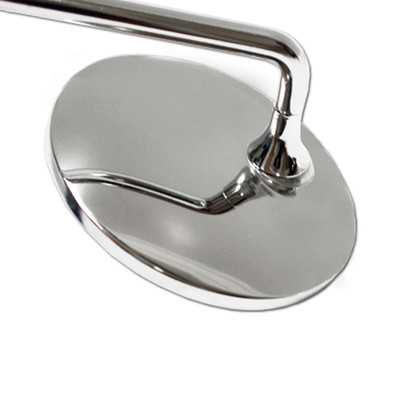 Rear view image of chrome motorcycle handlebar mirrors.