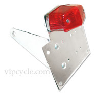 A great accessory for giving your ride a custom look.  Designed to accommodate all standard motorcycle license plates.  License plate bracket is CNC machined 6061-T6 billet aluminum metal.  On top of being all metal, our product, has not one, but three layers of chrome, giving it a high quality shine.  Included is a red tail light which uses a 12 volt, dual filament bulb, allowing it to work as a tail light/brake light combination.