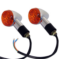 Each motorcycle turn signal indicator is chrome plated, has a removable amber colored lens, and includes a black, rubber, weather resistant mounting stud, with metal threaded mounting shaft.  Turn signals come as a pair and all hardware for installing them is included.