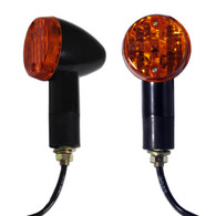 Each motorcycle turn signal indicator has a black colored finish, has a removable amber colored lens, and includes a black, rubber, weather resistant mounting stud, with metal threaded mounting shaft.  Turn signals come as a pair and all hardware for installing them is included.  Sold as a pair (two pieces)