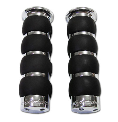 Tired of your hands being sore all the time while you ride? Upgrade your handlebar grips to a pair of chrome billet ISO comfort grips. They feature soft rubber black colored pads that are specifically designed to reduce strain and discomfort on your hands while you ride, allowing you to ride longer with no discomfort.