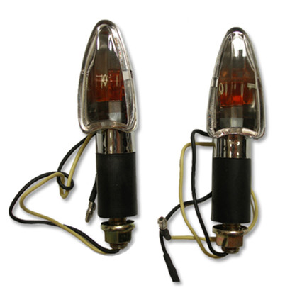 Turn signals use a single filament light bulb and gives off a bright amber color when activated. Turn signals use two wires.