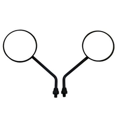 Replace your broken or old motorcycle mirrors with a pair of these black round fully adjustable motorcycle mirrors.  They feature a round mirror design and are black in color.