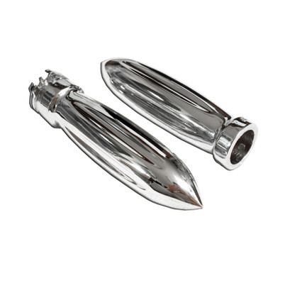 Customize your cruiser, chopper, or custom motorcycle, with a pair of these chrome billet motorcycle handlebar grips.  They are the perfect accessory if you are looking to add more chrome to your bike.  Sold as a pair.