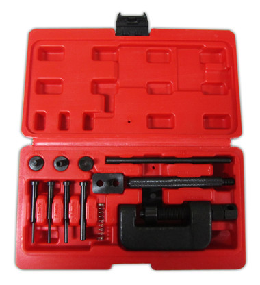 13 piece Motorcycle Cam Chain Breaker and Rivet Cutting Tool Set designed to break and join chains ranging from #35-630.
