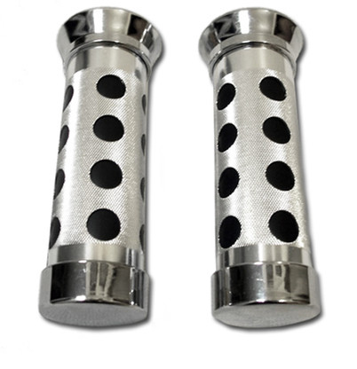 Chrome motorcycle grips designed to look like the end of a machine gun barrel.  These grips not only look wicked, but provide a better grip which helps make throttle tuning more precise.