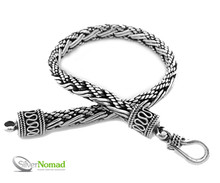 Handcrafted 925 Sterilng Balinese Double Weave Bracelet. Rounded on the outside with a flat inside for extra comfort - Hook Fastener - 6mm wide - 8.5 inches end to end.