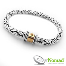 Silver Nomad Pura Byzantine Bracelet with Gold Gilded Push Button Barrel Clasp.