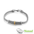 925 Sterling Silver Double Tulang Naga and Gold Bracelet.