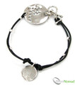 925 Sterling Silver Leather & Detailed Charm Bracelet