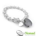 925 Sterling Silver Detailed Link Heart Charm Bracelet