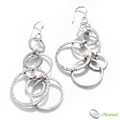 925 Sterling Silver Layered Circle Drop Earrings