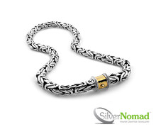 925 Sterling Silver Nomad Byzantine Borobudur Necklace. Gold push-button Clasp.