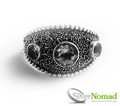 Silver Nomad Granulated Sphere Ring with Gemstones.