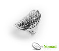 Silver Nomad Jewellery Bamboo Weave Ring.
