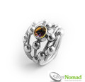 Silver Nomad Sphere Ring with Gemstone.