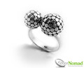 Silver Nomad Jewellery - Twin Sphere Ring.