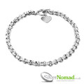 Silver Nomad Round Link Sterling Silver Chain with Love Heart Charm and T-Bar Clasp.
