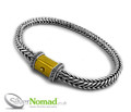 925 Sterling Silver Square Snake Link Bracelet and Gold Clasp - 4mm / 8""