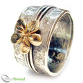 925 Sterling Silver Gold Flower Band