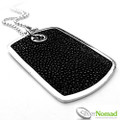 925 Sterling Silver Stingray Leather Dog Tag and Chain