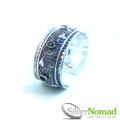 925 Sterling Silver Nomad Filigree Cuff with Garnet